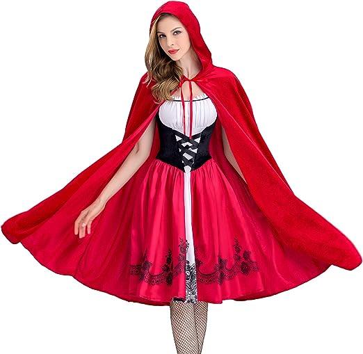 Disfraz Halloween Caperucita,Roja Mujer Cosplay Carnaval Navidad ...