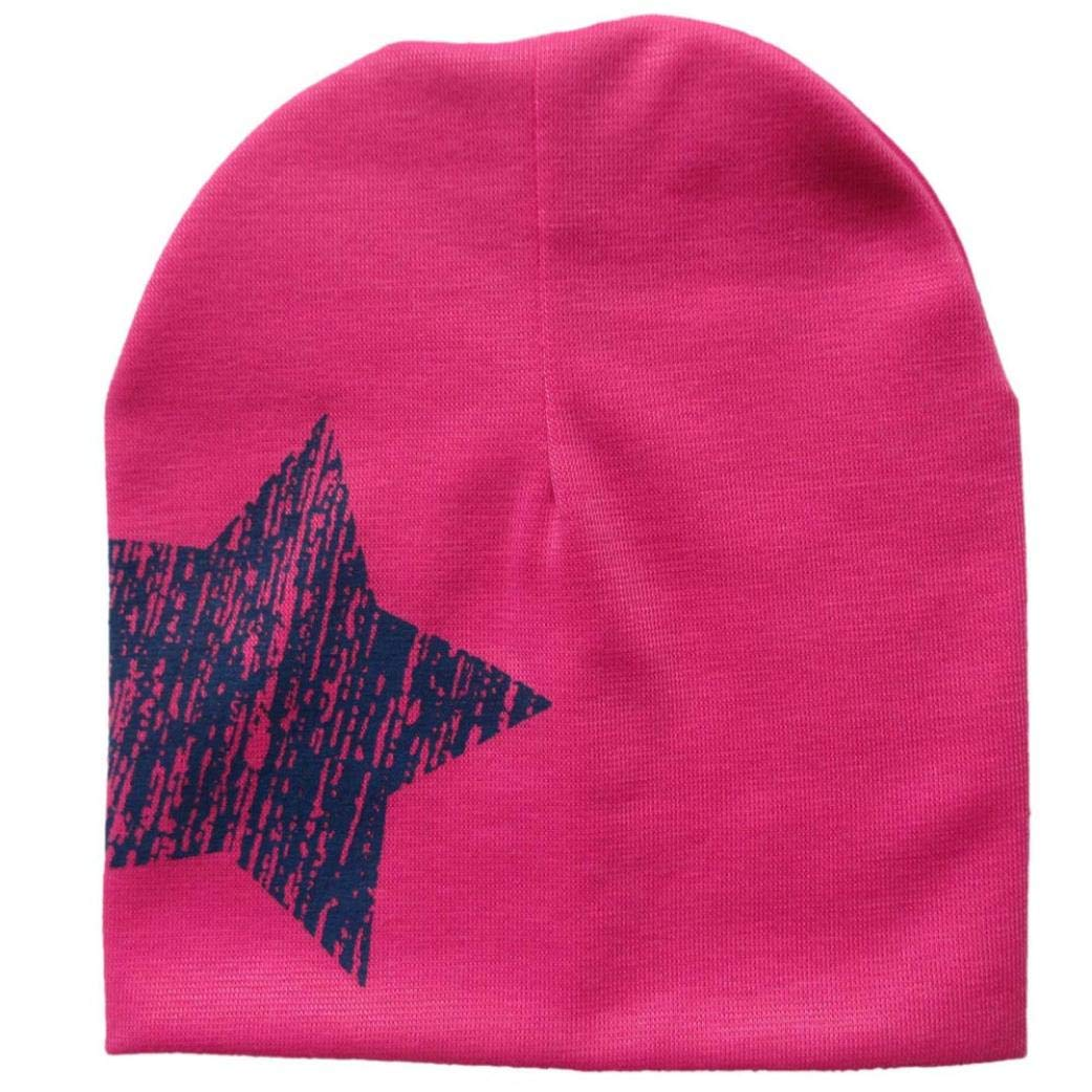 Vicbovo Clearance Sale Toddler Baby Boy Girl Fashion Star Print Beanie Caps Knit Winter Warm Slouchy Hats (Hot Pink)