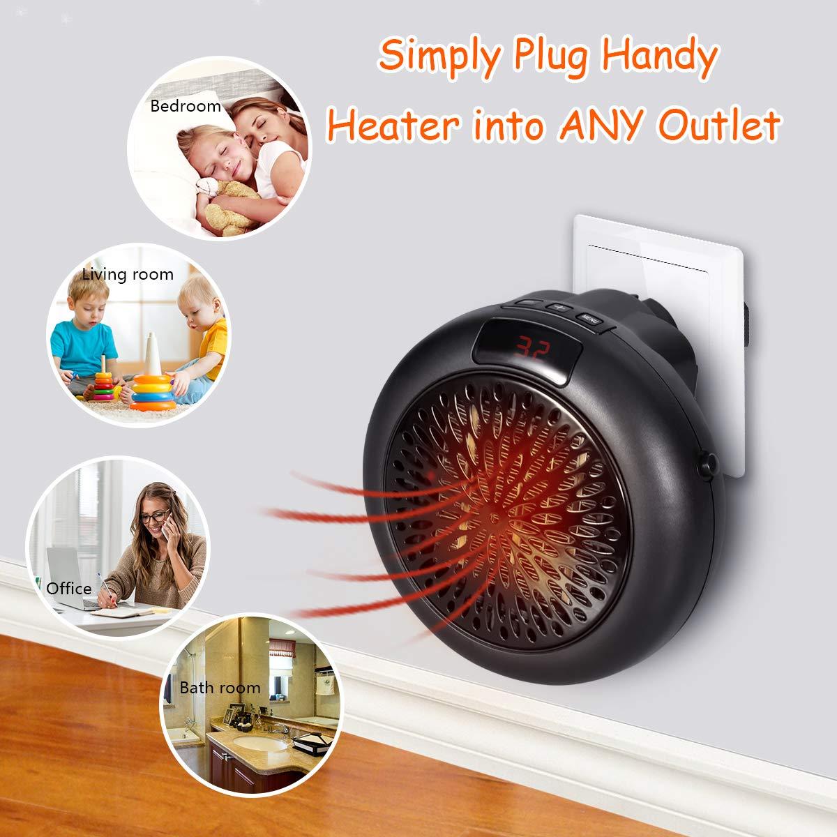 Calefactor Portátil - Mini Estufa Eléctrica Insta Heater Termoventilador Bajo Consumo con Termostato Ajustable, Temporizador de 12 Horas & Adaptador ...