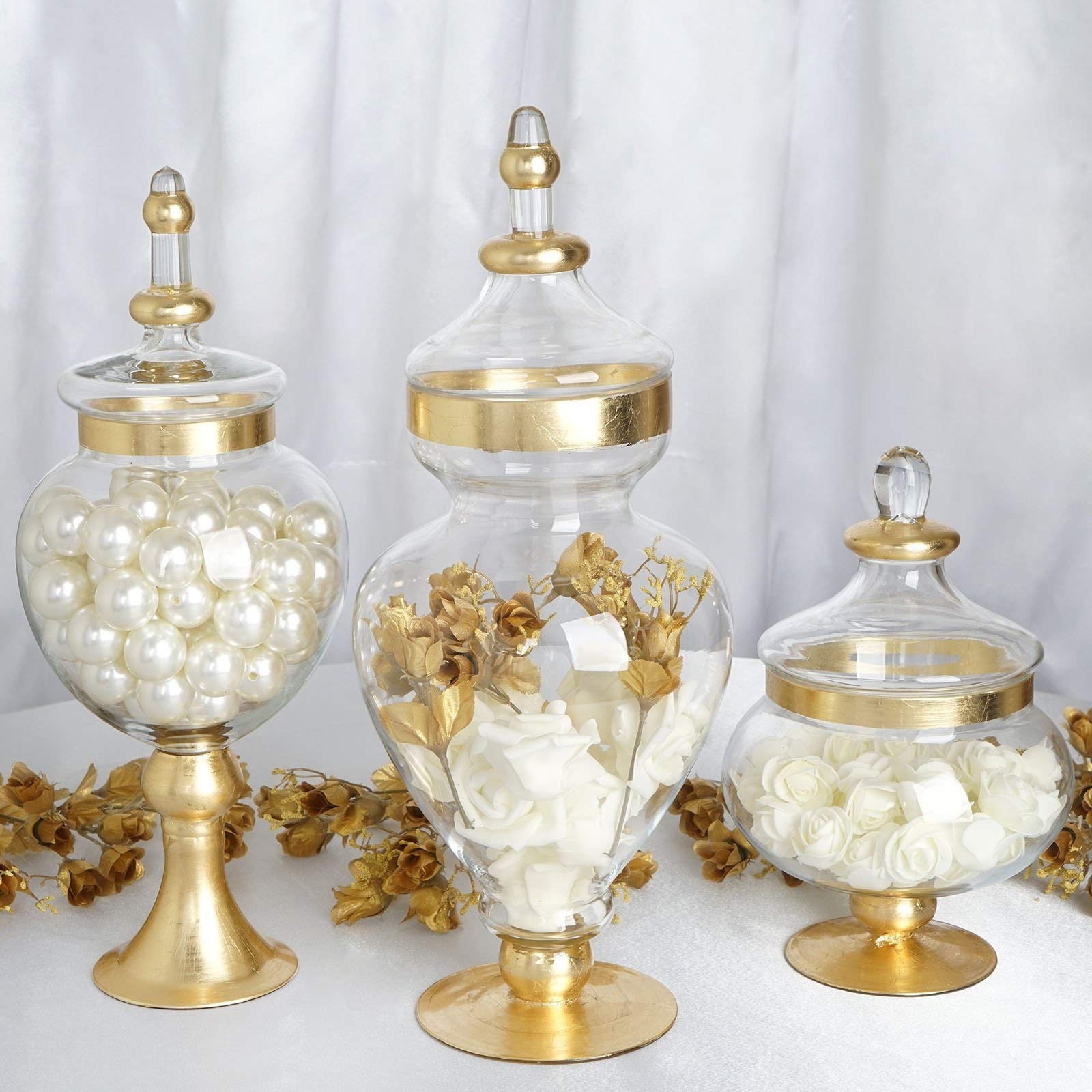 Efavormart Set of 3 Metallic Gold Rimmed Apothecary Glass Candy Jars Candy Buffet Containers with Lids -11''/16''/18'' by Efavormart