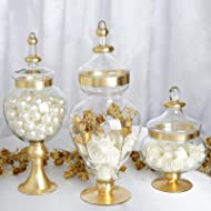 """Efavormart Set of 3 Metallic Gold Rimmed Apothecary Glass Candy Jars Candy Buffet Containers with Lids -11""""/16""""/18"""""""
