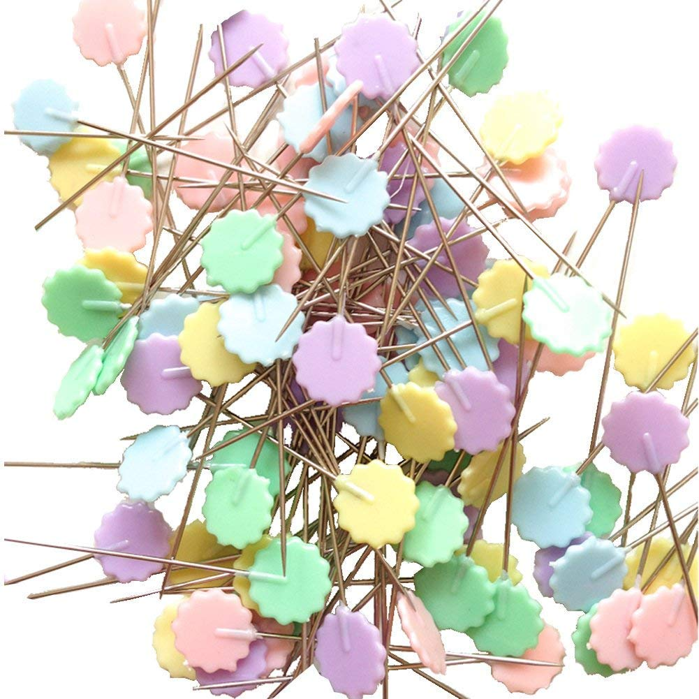 Mixed Colors Sewing Patchwork Pins Flower Head Pins Sewing DIY Tool Needle Arts-100pcs(Light Plum) China