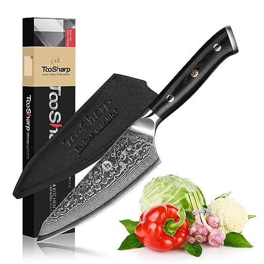 TooSharp Cuchillo Honesuki de 5 pulgadas/Acero de Damasco ...