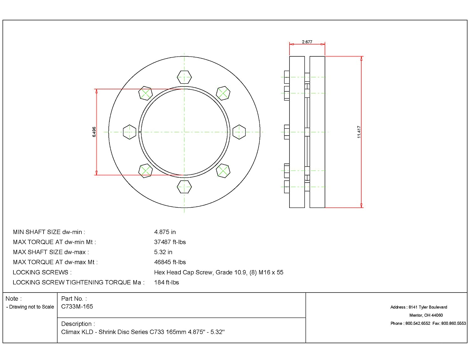 Steel with Zinc Plated Outer Rings Climax Metals C733M-280 Shrink Disc 5.28 Width 280 mm Diameter Bore Standard Duty 11.02 ID