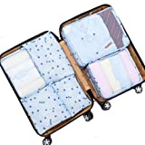 LA HAUTE Travel Packing Cubes 6 Sets Waterproof Travel Luggage Organizers Compression Pouches with Laundry Bag, Makeup Pouches, Shoes Bags