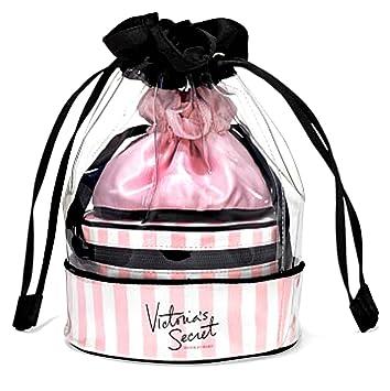 1f22837deb49 Victoria's Secret Multi Drawstring Travel Cosmetic Pack - VS Stripe Bag  Trio - Pink & White Stripes