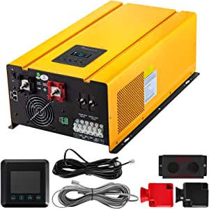 VEVOR Pure Sine Wave Power Inverter 4000W Low Frequency Inverter Peak 12000W Pure Sine Inverter Charger 48VDC 120V/240VAC Split Phase with Battery AC Charger, LCD Remote Controller Solar Inverter