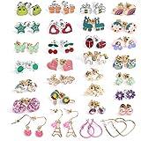 30 Pairs Assorted Stainless Steel Stud Earrings for Women Girls Teens Unicorn Gifts Cute Animal Flower Ladybug Heart Star Earrings Stud Hypoallergenic