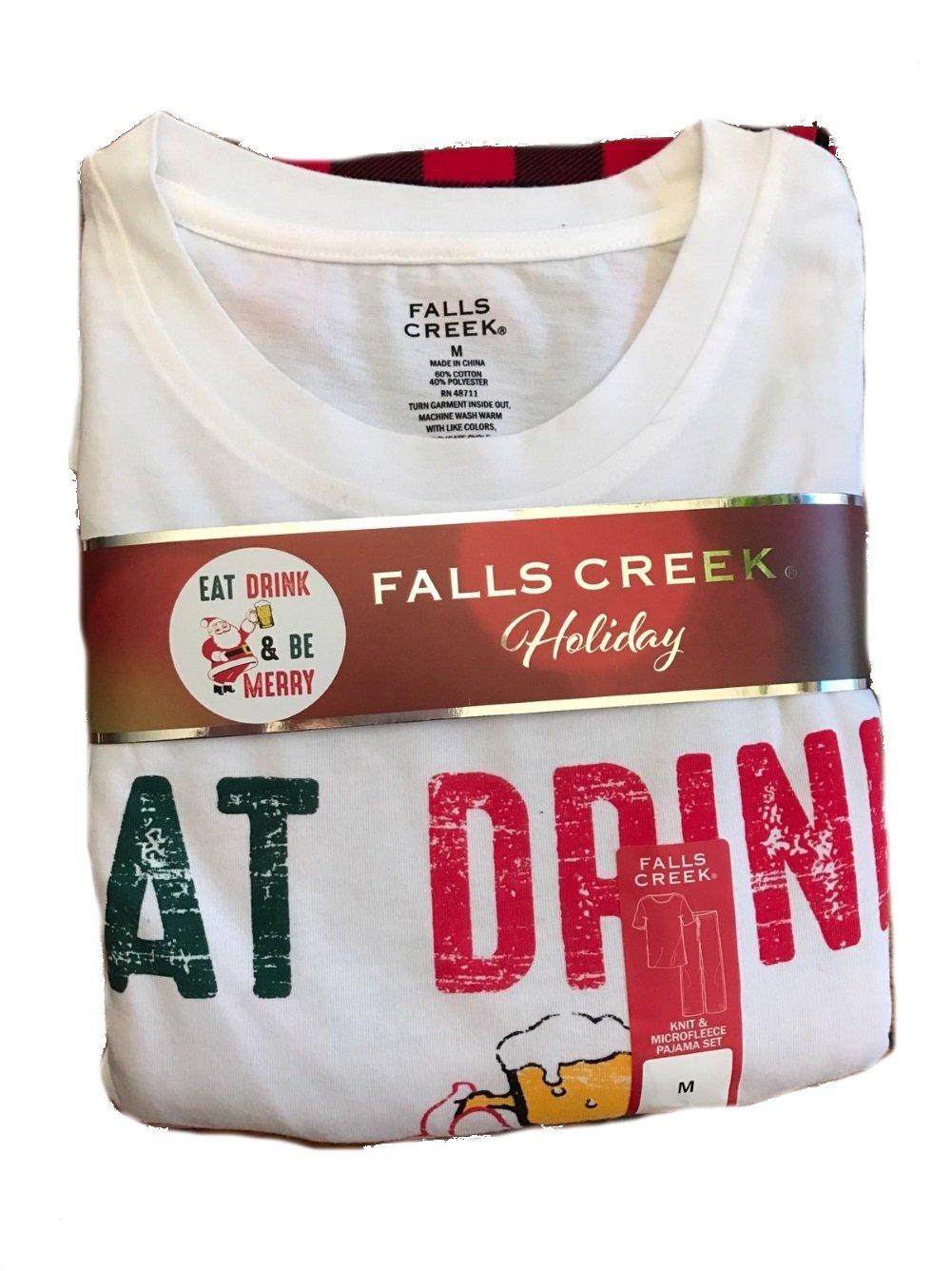 Falls Creek Mens Pajama Set Eat Drink & Be Merry Christmas Buffalo Plaid (Large)