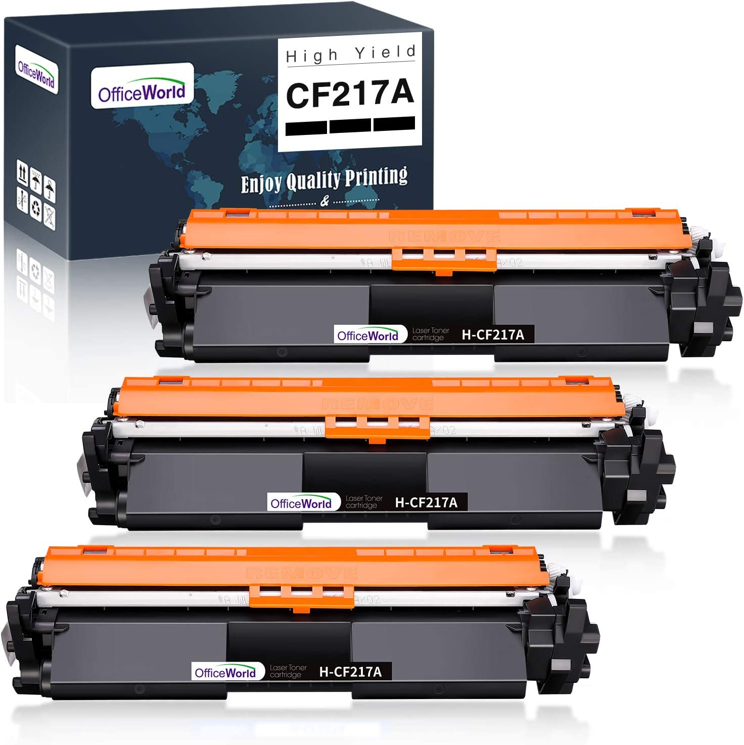 OfficeWorld 17A CF217A Compatible Toner Cartridge Replacement for HP 17A CF217A (Black, 3-Pack), for Laserjet Pro M102w M130nw M130fw M130fn M102a M130a Laserjet Pro MFP M130 M102 Series Printer