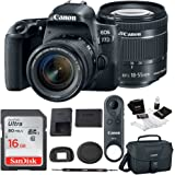 Canon EOS 77D DSLR w/ 18-155mm Lens + BR-E1 Remote Control & 16GB SDHC Card Bundle