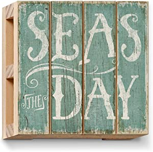Highland Home Seas The Day Single Pallet Wood Coaster 4 inch by 4 inch Square