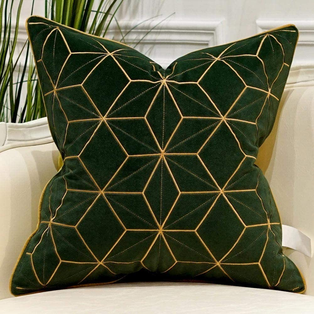 Avigers 18 x 18 Inches Green Gold Plaid Cushion Cases Luxury European Throw Pillow Covers Decorative Pillows for Couch Living Room Bedroom Car