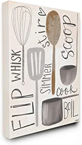 Stupell Industries Flip Whisk Simmer and Stir Kitchen Spoons and Utensils Canvas Wall Art, 24 x 30, Multi-Color