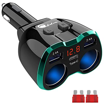 Type C Cigarette Lighter Splitter, 2-Socket USB C Car Charger Adapter Multi Auto Power Outlet 12V DC 80W with Red LED Voltmeter Switch Replaceable Fuse Dual USB Port for Cell Phone GPS Dash Cam, Green: Electronics
