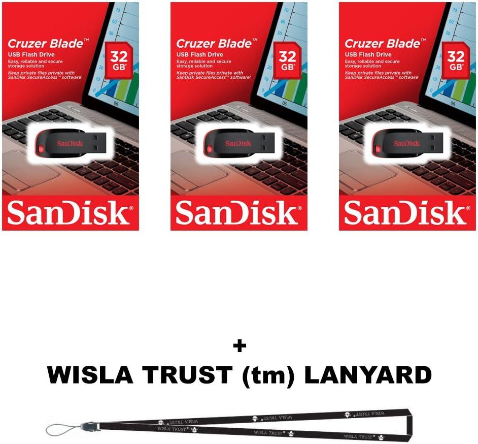 64GB USB 2.0 FlashDrive SanDisk Cruzer Blade SDCZ50-064G 3 PACK W// Lanyard