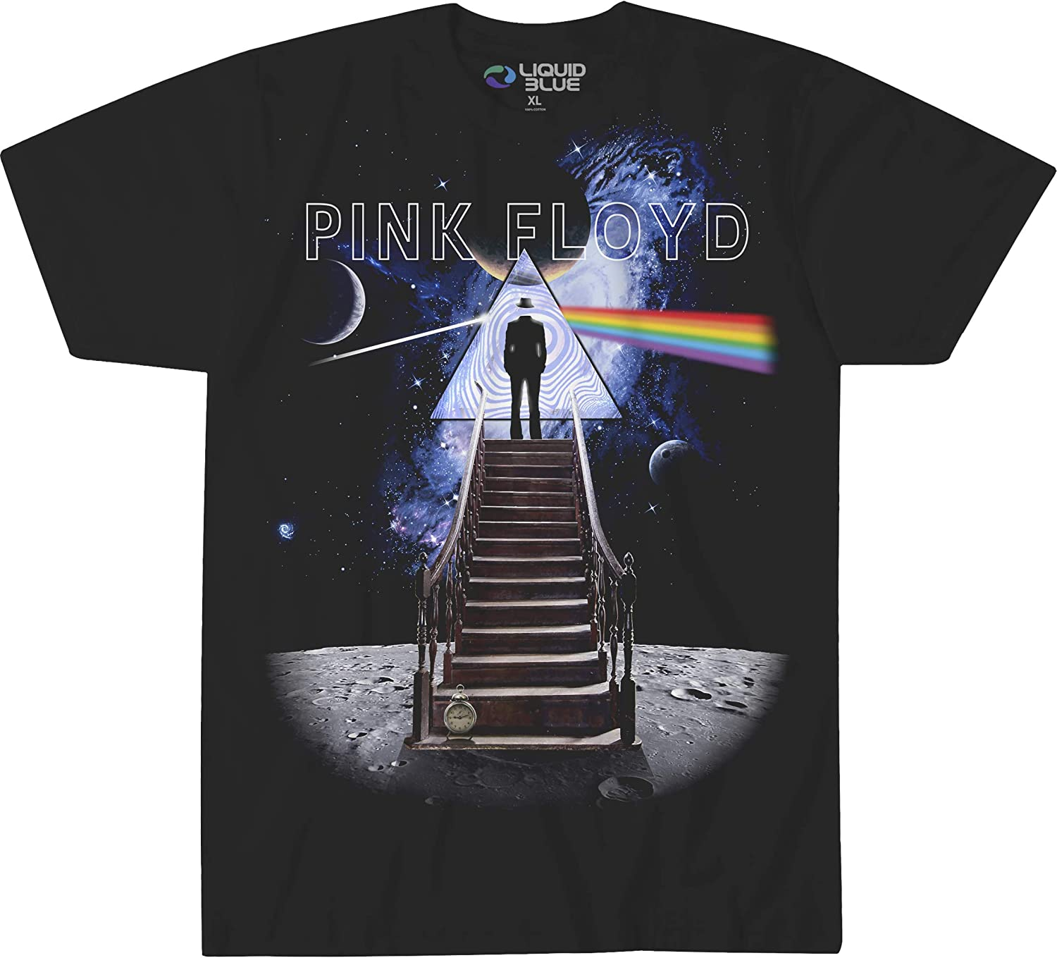 Liquid Blue Pink Floyd Stairway to The Moon T-Shirt: Clothing