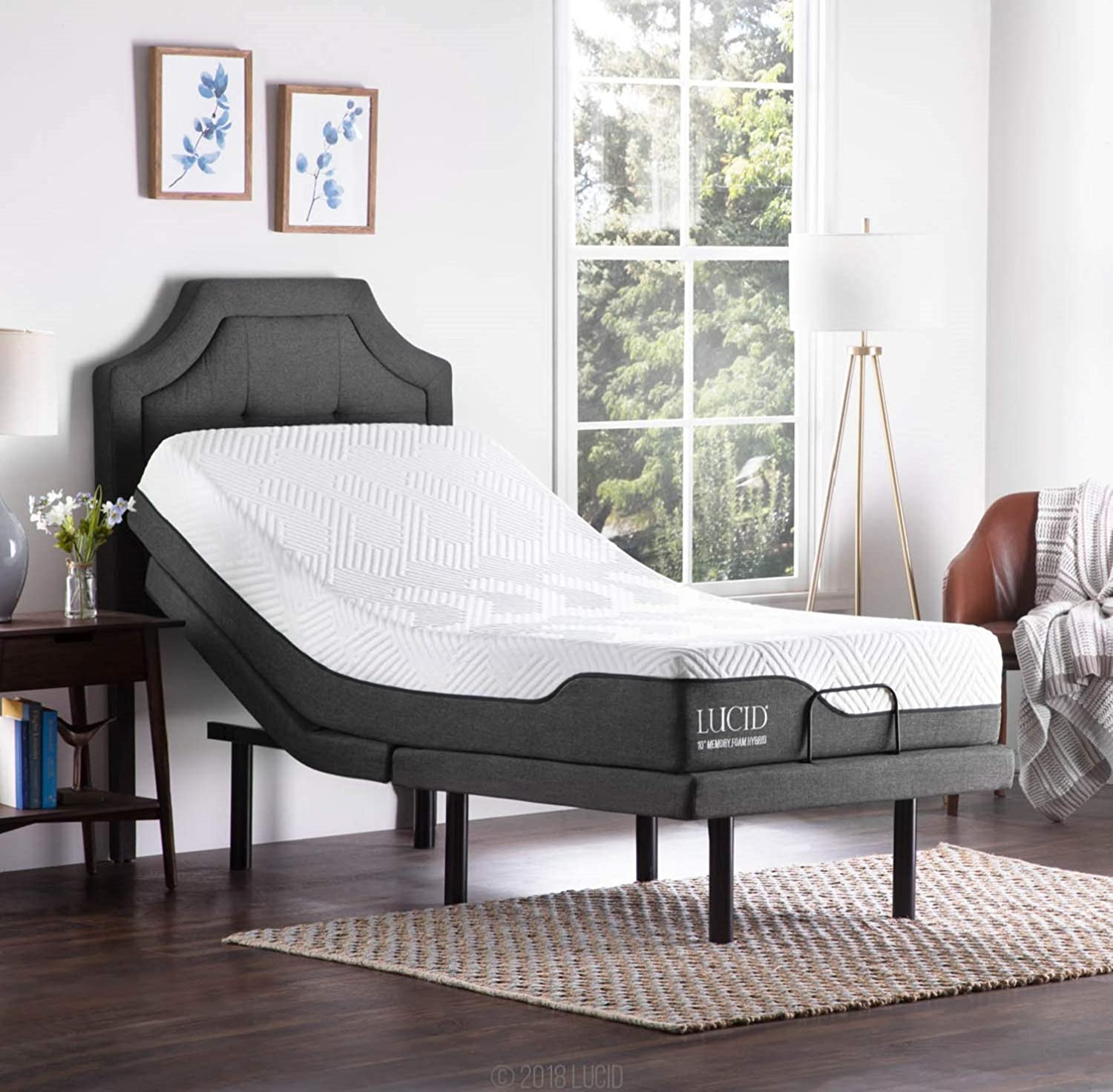 LUCID L300 Adjustable Bed Base with LUCID 10 Inch Memory Foam Hybrid Mattress