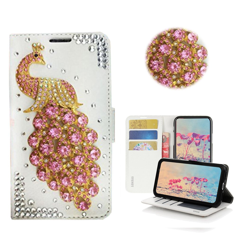 STENES Galaxy J7 (2018) Case - Stylish - 3D Handmade Bling Crystal Peacock Design Magnetic Wallet Credit Card Slots Fold Stand Leather Cover for Samsung Galaxy J7 SM-J737 - Pink by STENES