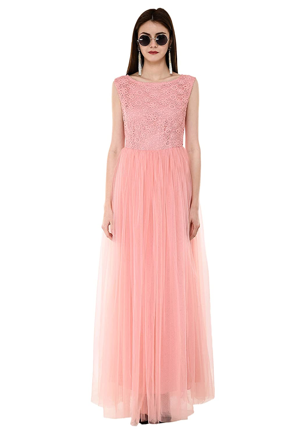 213accb724 V&M Peach Floral Lace Work Embellished Bodice net Flared Gown for Women:  Amazon.in: Clothing & Accessories
