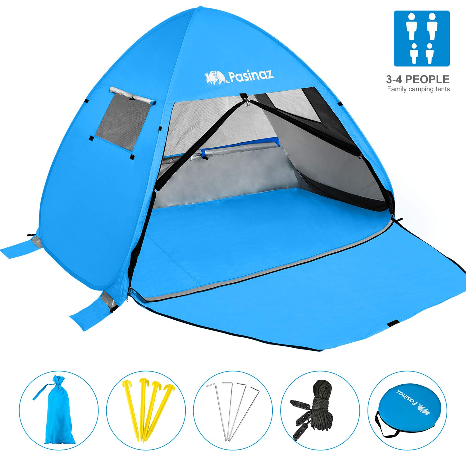 Pasinaz Pop Up Tent 3-4 People Family Beach Tent Camping Shelter Anti UV Sun Shade Outdoor Cabana Blue by Pasinaz