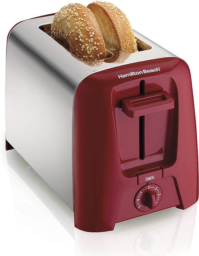 Hamilton Beach 2 Slice Extra Wide Slot Toaster with Shade Selector, Toast Boost, Auto Shutoff, Red (22623)   Amazon