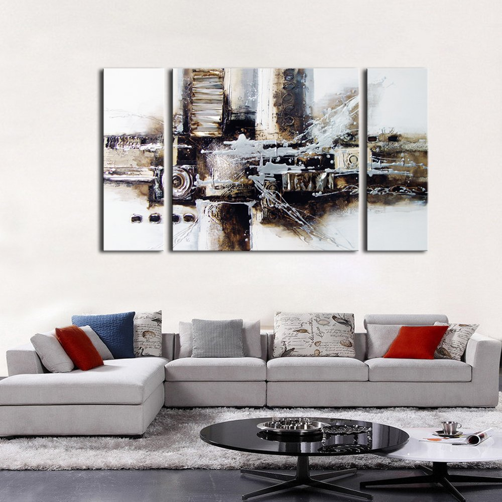 About the company Noah Art Gallery has been specializing in oil paintings for 12 years which ensures that each painting shipped by us is high quality and ... & Abstract Oil Painting Large Modern Black White Original Wall Art ...