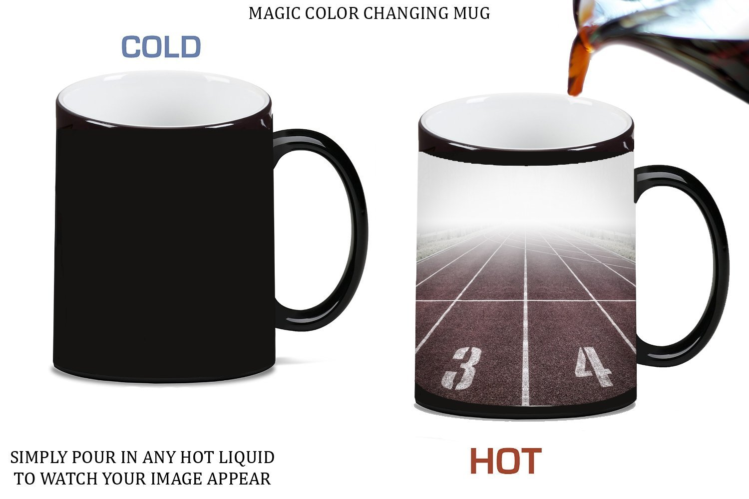 Track and Field Run Running Race Morph Morphing Color Changing Ceramic Coffee Mug Tea Cup by Moonlight Printing