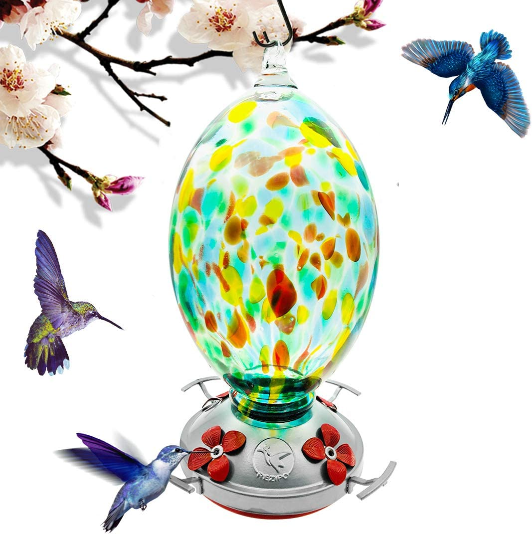 REZIPO Hummingbird Feeder with Perch - Hand Blown Glass - Green - 40 Fluid Ounces Hummingbird Nectar Capacity Include Hanging Wires and Moat Hook
