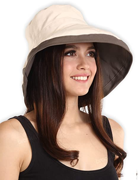 f0b0baa0556 UV Protection Packable Cotton Sun Hat with Adjustable Drawstring - Stylish