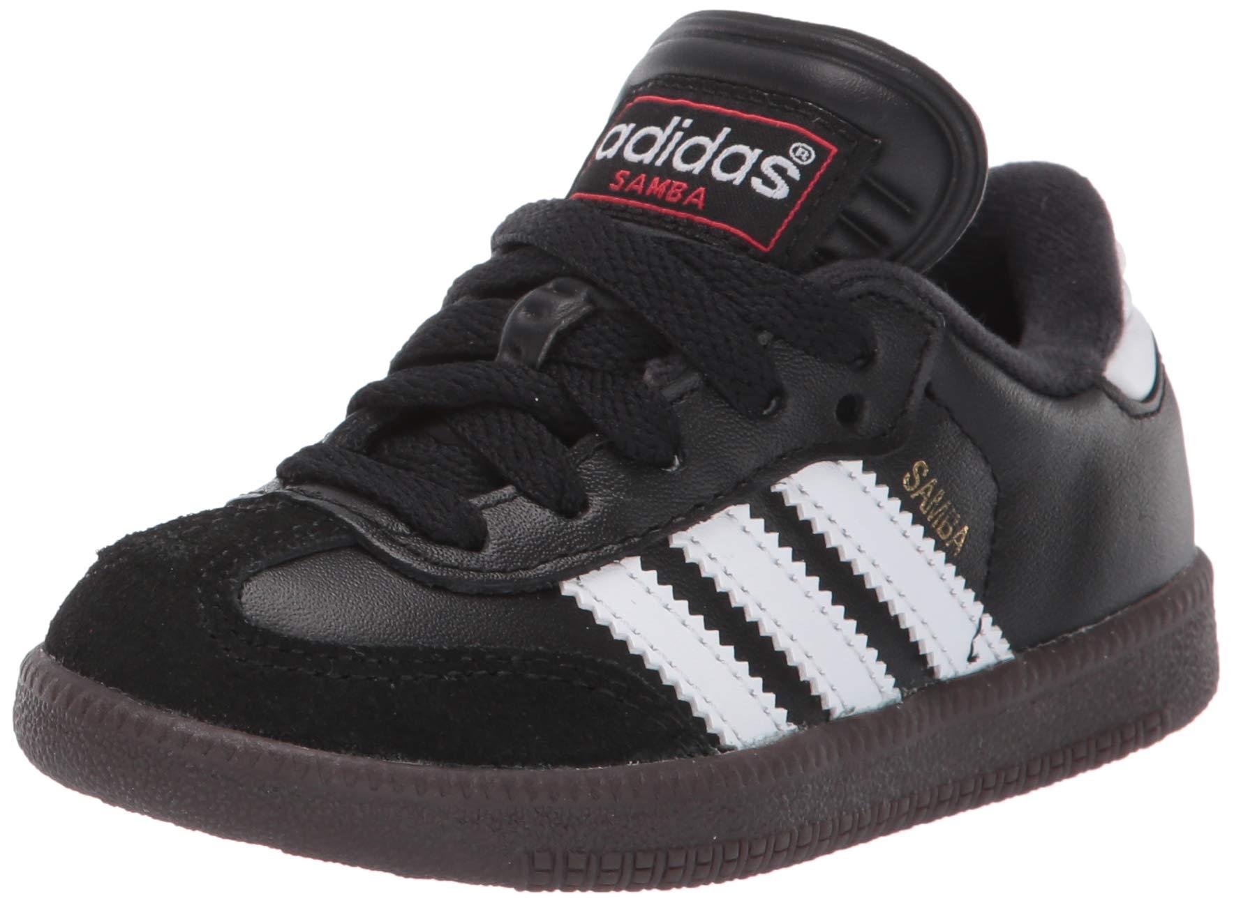 adidas Kids' Samba Classic Soccer Shoe, White/Black/White, 2.5 M US Little Kid