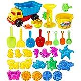Rolanli Strand Spielzeug, 31er Set Sandspielzeug Kinder Strand Fahrzeug Spielzeug für Sandstrand Outdoor - Farbe Zufällig