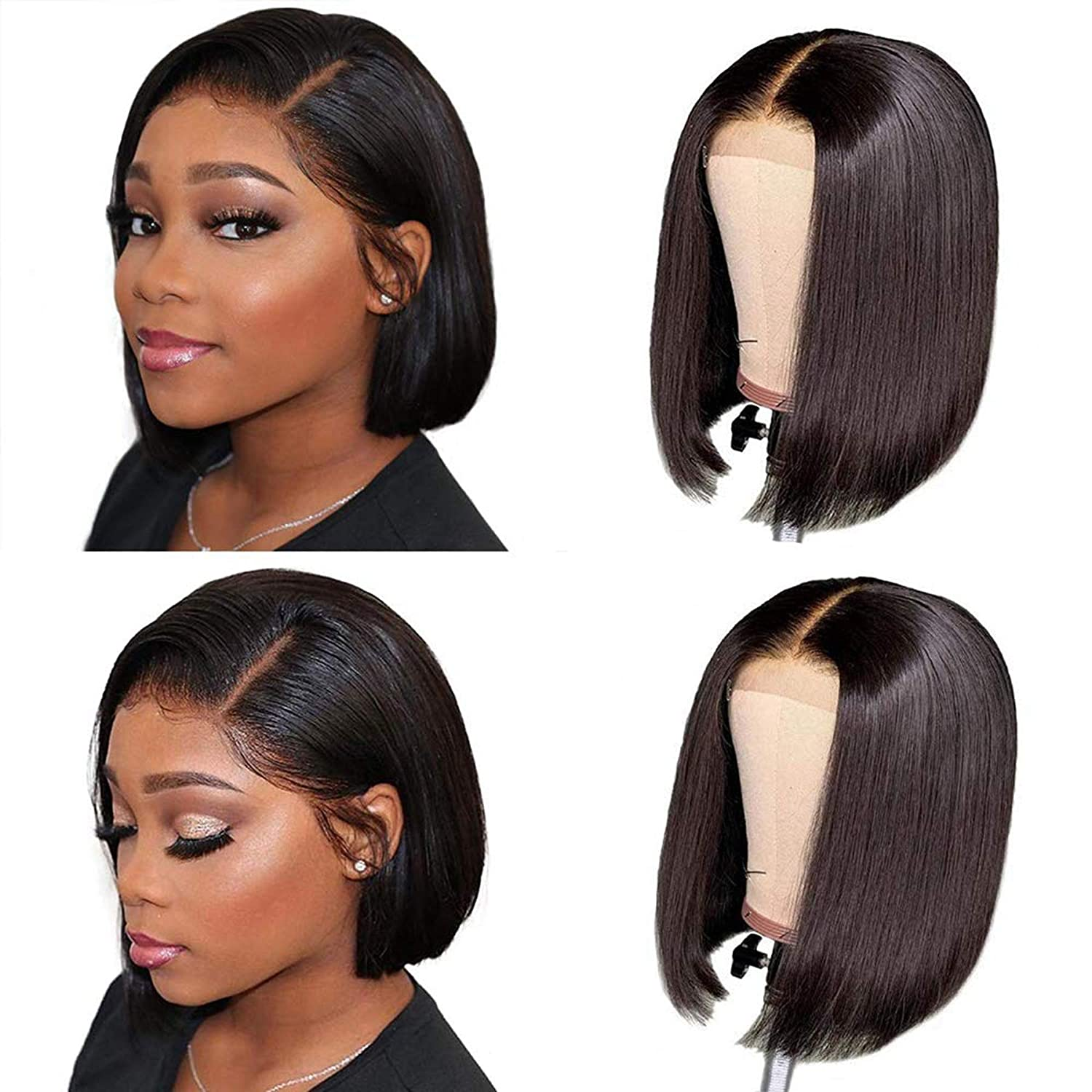 Highligh Density 150 Short Bob Lace Front Human Hair Wigs With Baby Hair Pre Plucked Remy Brazilian 2x6 Lace Wigs Bleached Knots Natural Black 14 Inch Beauty Amazon Com