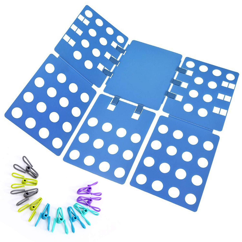 Ohuhu Clothes Folding Board, Adjustable Clothes Folder with Towel Clips - Adult Dress Pants Towels T-Shirt Folder Board/ Easy Laundry Folder Organizer, Blue