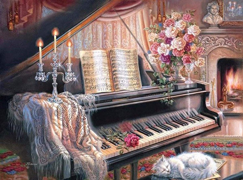 60 80cm 5D DIY Diamond Painting Paesaggio Pianoforte punto croce Full Diamond Scene ricamo strass strass regalo di Natale