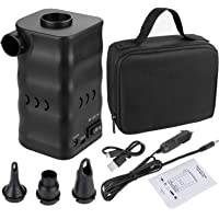 Zacro 6000mAh Aire Bomba Portable Eléctrica para Inflables y Deflación Rápida,Electrificado por USB o 12V Salida del Vehículo,3 Boquillas para Inflar Colchones,Tumbonas,etc.