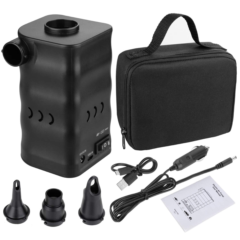 Zacro 6000mAh Aire Bomba Portable El/éctrica para Inflables y Deflaci/ón R/ápida,Electrificado por USB o 12V Salida del Veh/ículo,3 Boquillas para Inflar Colchones,Tumbonas,etc.