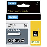 "DYMO Industrial Flexible Nylon Labels, 3/4"", Black on White, 18489, DYMO Authentic"