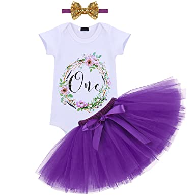 07b05409831d Baby Girls Flower One Year 1st Birthday Outfit Sequin Bowknot ...