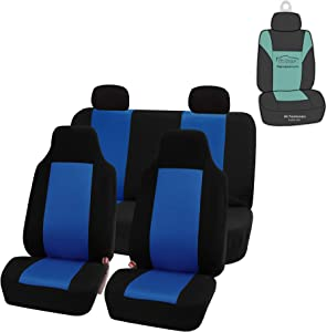 FH Group FB102114 Classic Cloth Seat Covers (Blue) Full Set with Gift – Universal Fit for Cars Trucks & SUVs