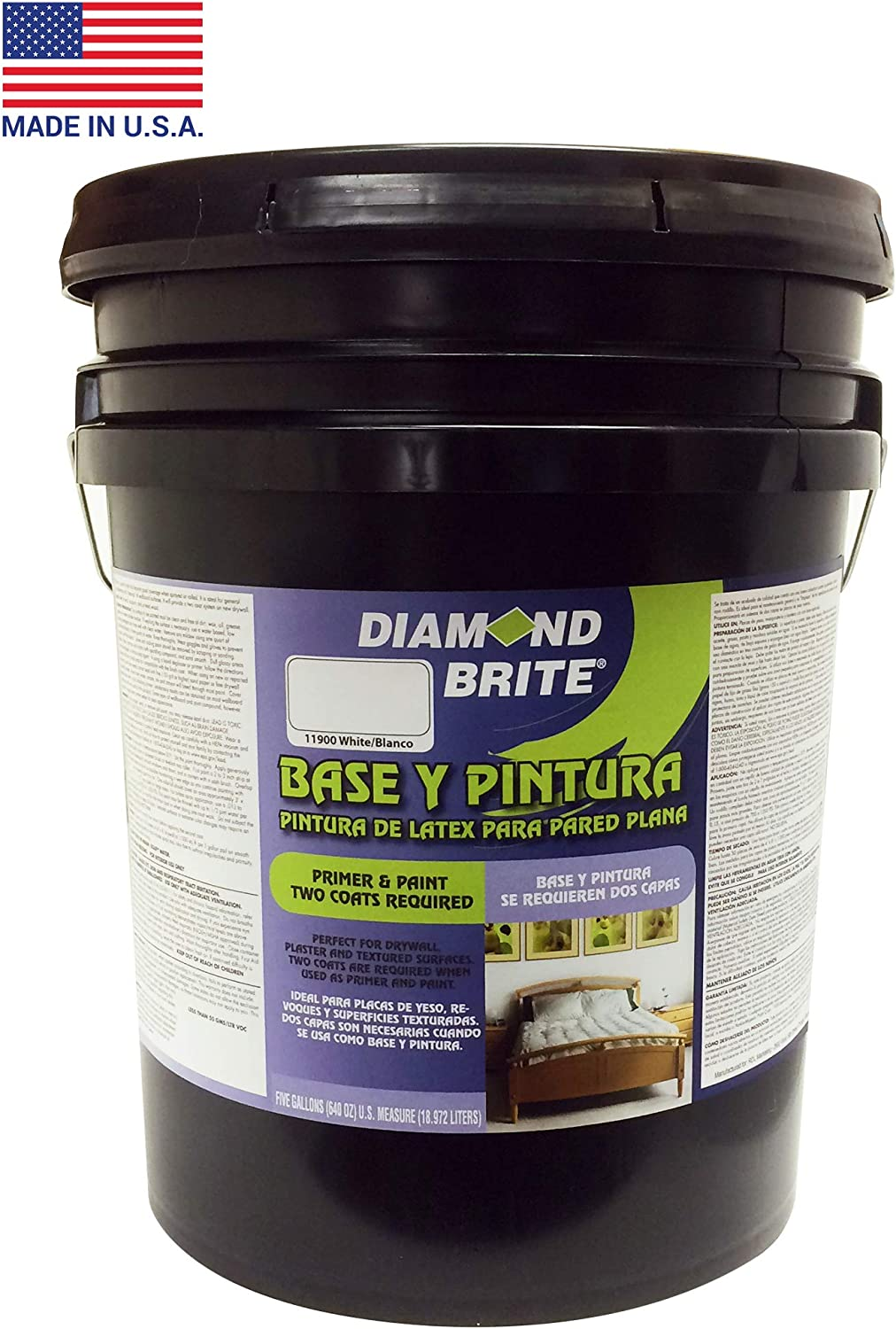Diamond Brite Paint 11900 5 Flat Paint And Primer In One 5 Gallon White House Paint Amazon Com