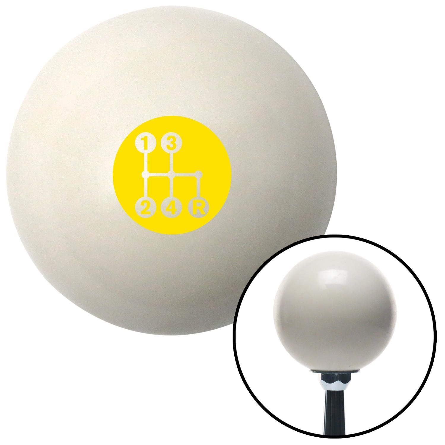 Yellow 4 Speed Shift Pattern - Dots 6 Ivory with M16 x 1.5 Insert American Shifter 269600 Shift Knob