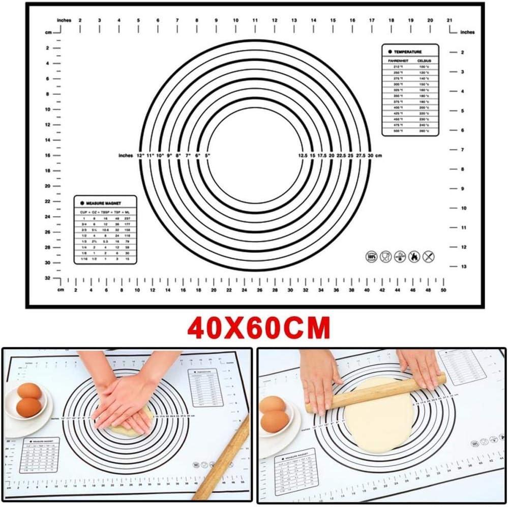 Extra Grande silicona Formas Mat silicona Formas De Calidad de los Alimentos de la alfombra por Patisserie balanceo con mediciones (60 × 40 cm), antiadherente, no Slip Tamaño Profesional, Negro y Rojo