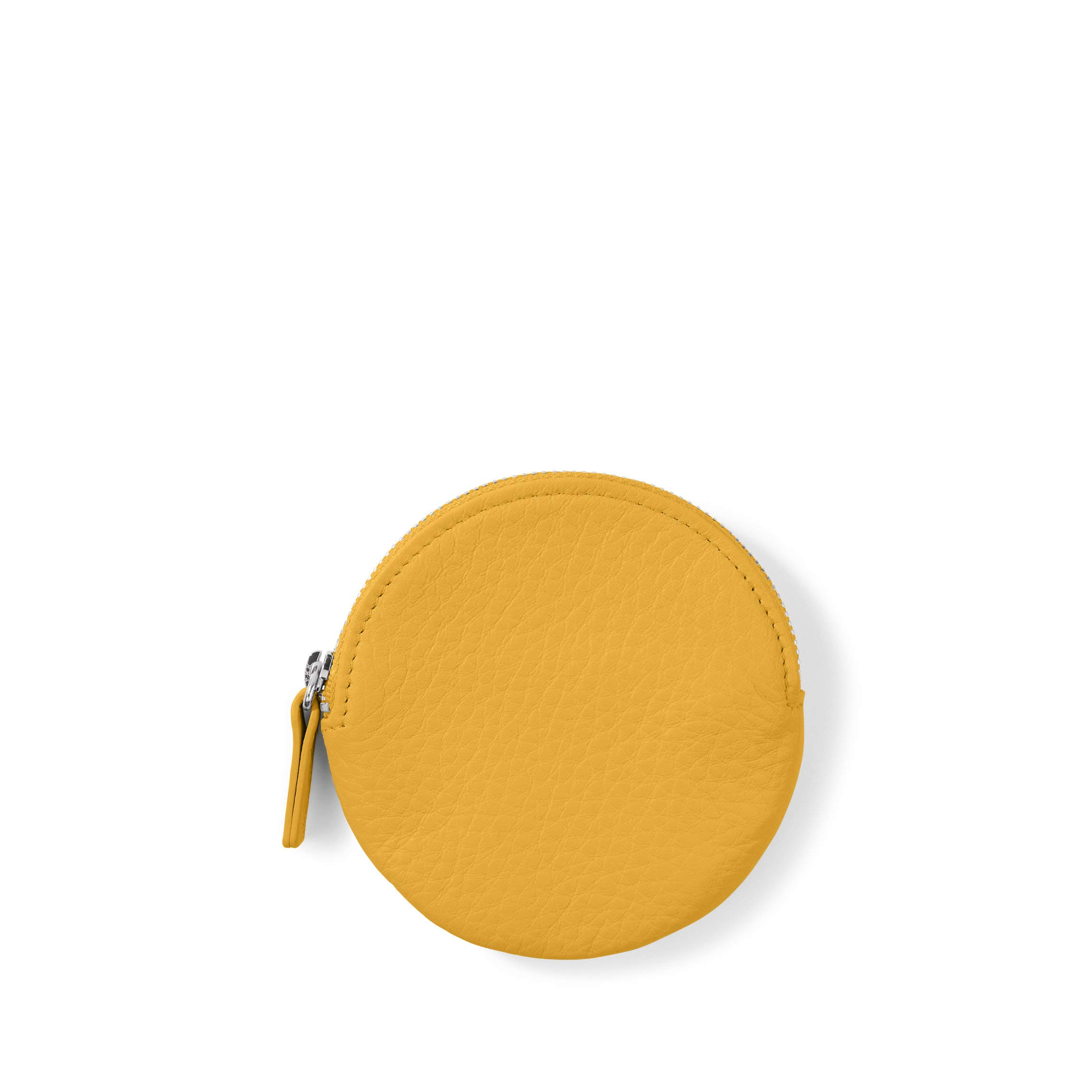Round Coin Pouch - Full Grain Leather Leather - Turmeric (yellow)