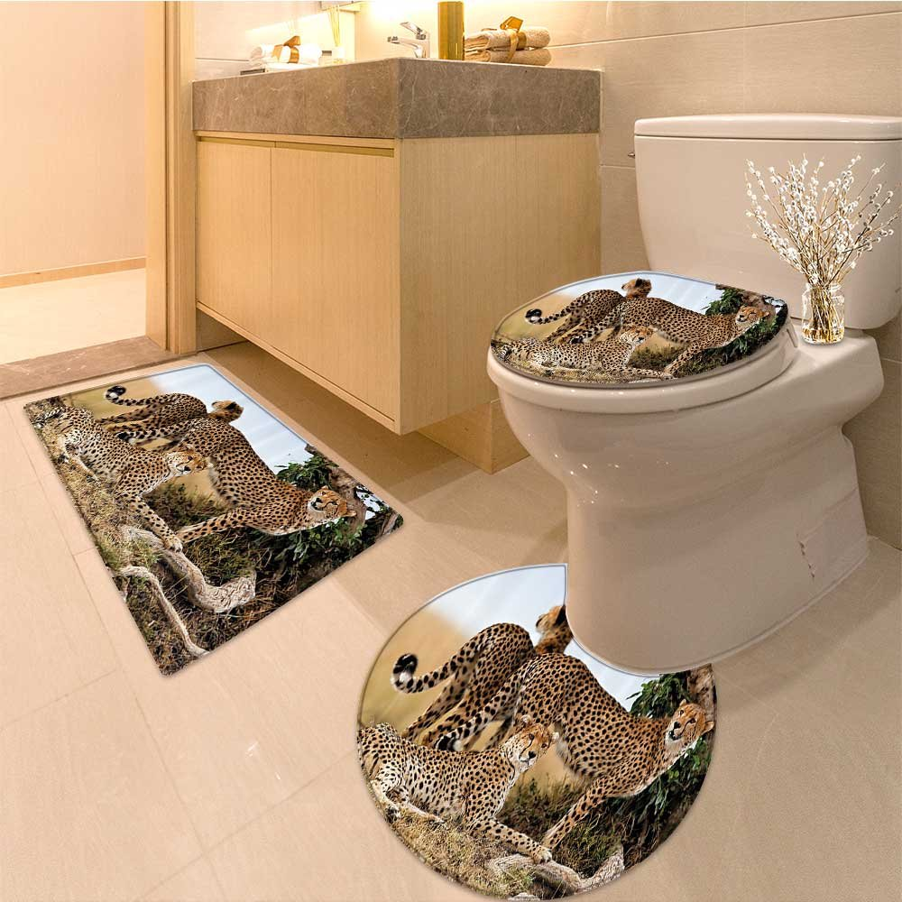 3 Piece Extended bath mat set Cheetahs Mother and Two Young Baby Looking for Food Dangerous Exotic Animals Tan Bla Very Absorbent Bathroom Bath Mat Contour Rug