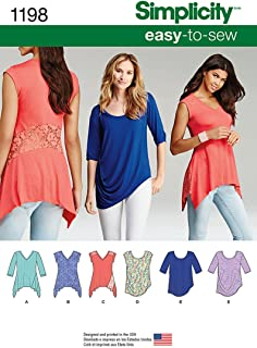 product image for Simplicity 1198 Learn to Sew Women's Knit Top Sewing Patterns, Sizes XXS-XXL