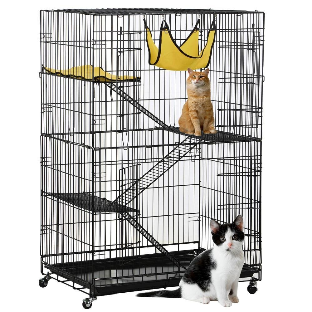 Amazon.com : Yaheetech Folding Four Tiers Pet Cat Ferret Metal ...