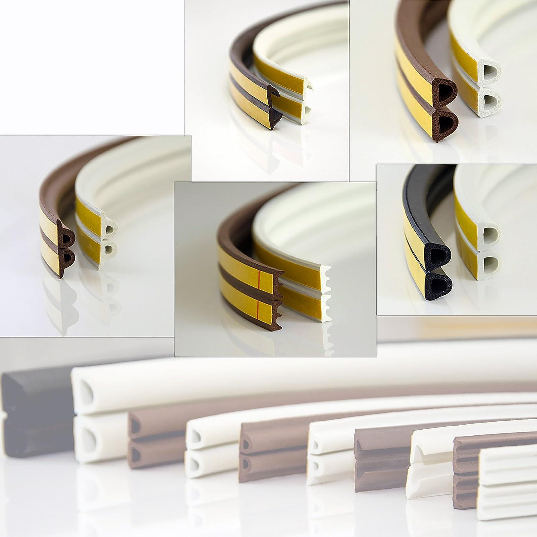 6m GUMMIDICHTUNG 9 x 7.4mm braun D Profil selbstklebend Fensterdichtung T/ürdichtung Gummi Dichtung Dichtungsband Profildichtung