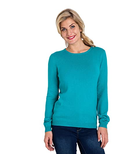 f1b23bcd160 Woolovers Womens Cashmere and Cotton Crew Neck Knitted Sweater Soft Teal