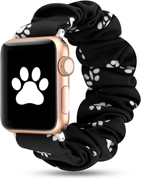 Women Scrunchie Bands Compatible for Apple Watch Band 38mm 40mm 42mm 44mm,Cute Pattern Printed Bracelet Replacement Wristbands for iWatch Series 5 4 3 2 1 (Dog paw, 38/40mm)